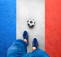 France football player with soccer ball
