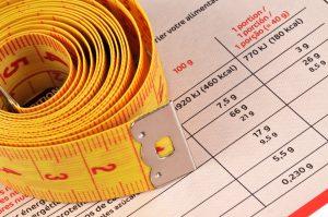 maßband auf tabelle zur berechnung vom zielgewicht