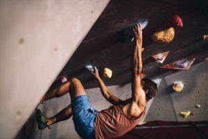 Kletterer an der Wand
