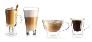 eiskaffee latte macchiato cappucino und espresso nebeneinander
