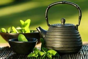 teekanne und tasse mit entwässerungstee