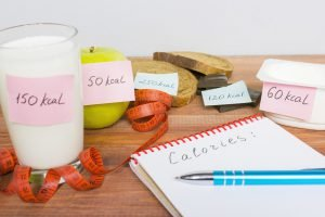 lebensmittel mit kalorienzahl auf klebezettel
