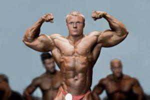 Bodybuilder beim Wettkampf